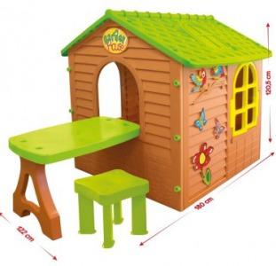 """Детский игровой домик """"Лесной коричневый +столик+стулик"""