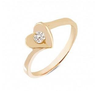 Золотое кольцо сердце с бриллиантом 0,15 карат. НОВОЕ (Код: 16305)