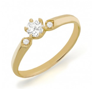 Золотое кольцо с бриллиантами 0,25 карат 17 мм. НОВОЕ (Код: 13055)