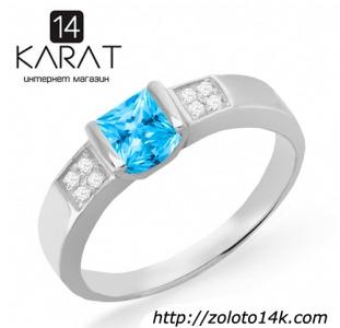 Золотое кольцо с топазом и бриллиантами 0,04 карат. Белое золото. НОВОЕ (Код: 18882)