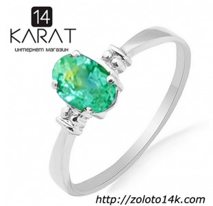 Золотое кольцо с изумрудом 0,40 карат 16,5 мм. Белое золото. НОВОЕ (Код: 17787)  100% натуральные