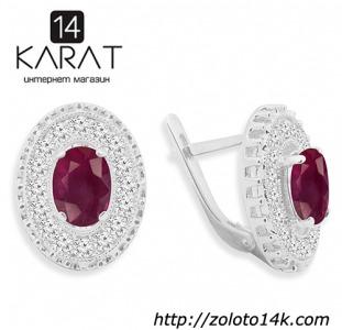 НОВЫЕ серебряные серьги с натуральным рубином 3,60 карат (Код: с1024)  Есть кольцо в комплект!