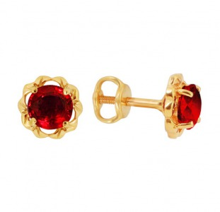 Золотые серьги с натуральными рубинами 2.50 карат. НОВЫЕ (Код: 14302)