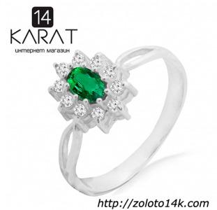 Серебряное кольцо с натуральным изумрудом 0,20 карат и цирконами. Есть серьги и кулон в комплект