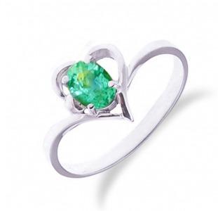 Золотое кольцо сердце с изумрудом 0,30 карат. НОВОЕ (Код: 16101)