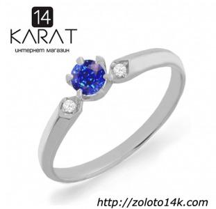 Золотое кольцо с сапфиром и бриллиантами 0,03 карат 16,5 мм. НОВОЕ (Код: 16139)