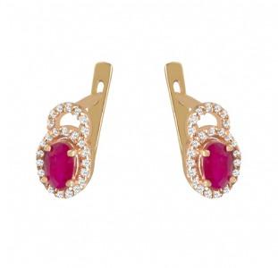 Золотые серьги с рубинами и бриллиантами 0,  30 карат. НОВЫЕ (Код: 13108)