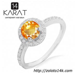 Серебряное кольцо с натуральным цитрином 0,80 карат и цирконами. Есть серьги и кулон в комплект