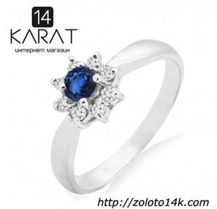 Золотое кольцо с сапфиром и бриллиантами 0,12 карат 16,5 мм. Белое золото. НОВОЕ (Код: 14441)