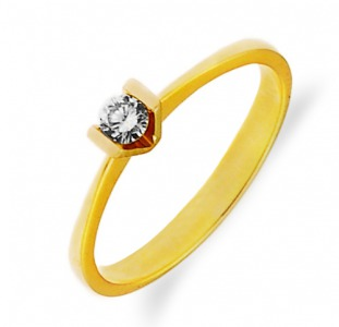 Золотое кольцо с бриллиантом 0,12 карат 16,5 мм. НОВОЕ (Код: 16104)