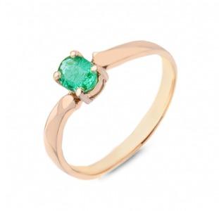 Золотое кольцо с изумрудом 0,20 карат 17 мм. НОВОЕ (Код: 17003)