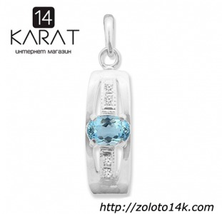 Серебряный кулон с натуральным топазом 0,50 карат и цирконами. Новый (Код: п1011)  100% натуральные