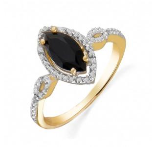 Золотое кольцо с ониксом и бриллиантами 0,  04 карат 17 мм. НОВОЕ (Код: 16284)