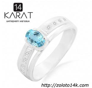 Серебряное кольцо с голубым топазом 0,50 карат и цирконами. Есть серьги и кулон в комплект. Новые