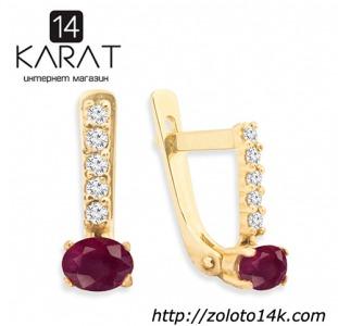 Золотые серьги с натуральным рубином и бриллиантами 0,12 карат. Желтое золото. НОВОЕ (Код: 13344)