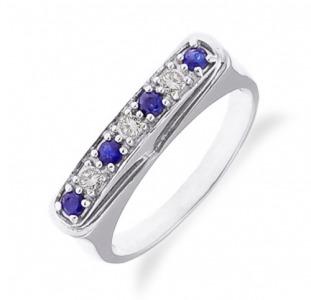 Золотое кольцо с сапфирами и бриллиантами 0,09 карат. НОВОЕ (Код: 16102)