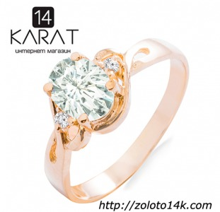 Золотое кольцо с аквамарином и бриллиантами 0,04 карат. Желтое золото. НОВОЕ (Код: 18896)