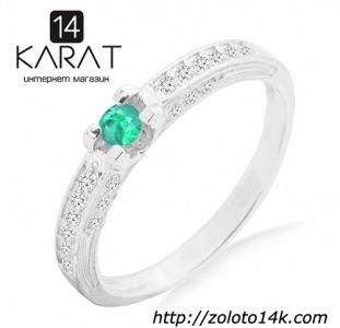 Украшения и драгоценности Серебряное кольцо с натуральным изумрудом 0,10 карат 16-18.5 мм. НОВОЕ (Код: к1031)