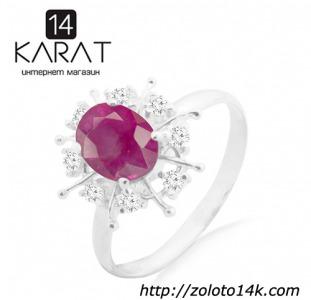 Серебряное кольцо с натуральным рубином 1,50 карат и цирконами. Есть серьги и кулон в комплект!
