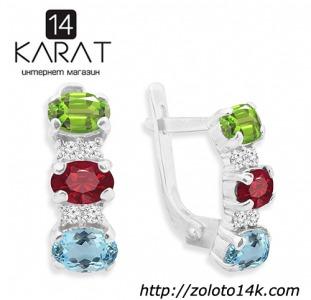 НОВЫЕ серебряные серьги с топазом, гранатом и хризолитом 3,00 карат (Код: с1034)