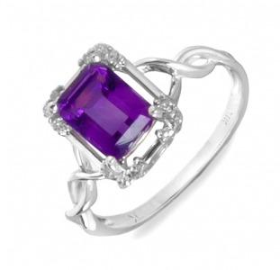 Золотое кольцо с аметистом и бриллиантами 0,  12 карат 17 мм. НОВОЕ (Код: 16279)