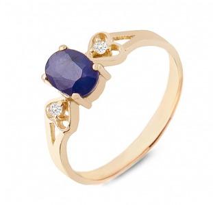 Золотое кольцо с сапфиром и бриллиантами 0,04 карат. НОВОЕ (Код: 16361)