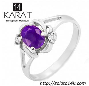 Золотое кольцо с аметистом и бриллиантами 0,04 карат. Белое золото. НОВОЕ (Код: 18883)