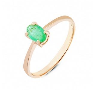 Золотое кольцо с изумрудом 0,30 карат. НОВОЕ (Код: 17001)