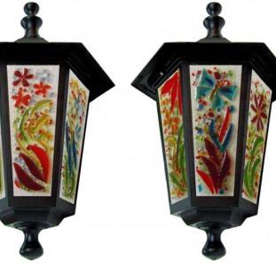 Уличные светильники с витражными вставками,   ландшафтные витражные светильники.