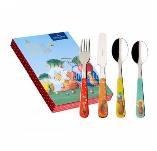 Удобный набор столовых приборов детский Villeroy & Boch коллекция Kiddy Bears, 4 предмета