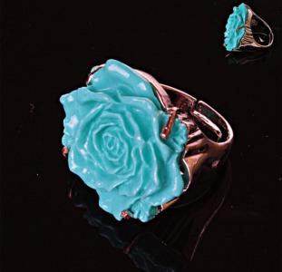Перстень безразмерный Роза полимерная глина голубой