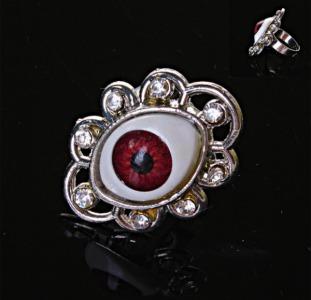 Кольцо безразмерный глаз страза красный