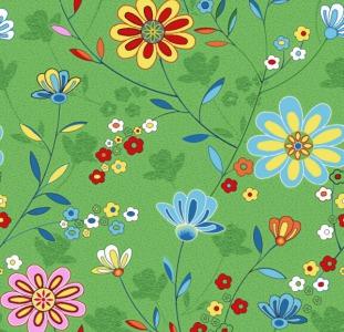 Ковер детский зеленый Цветы