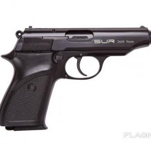 Стартовый пистолет SUR 2608 чёрного цвета + запасной магазин