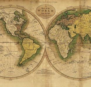 """Оригинальный подарок - Настенная карта """"Три экспедиции Джеймса Кука"""""""