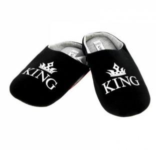 """Тапки мужские """" KING """" LIVERGY 44/45 черный-серый M21-470038"""