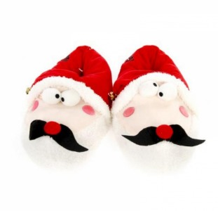 """Тапки мужские """" Санта Клаус """" LIVERGY 42/43 красный-белый"""