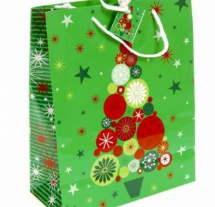 Аксессуары M7-110034, Декоративный подарочный пакет, зеленый-разноцветный