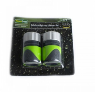 L15-900063_01, Набор насадок для шланга 13 мм (2 шт.), черный-зеленый