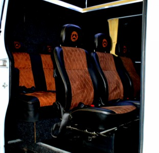 Перетяжка салонов сидений в микроавтобусах автобусах переоборудование