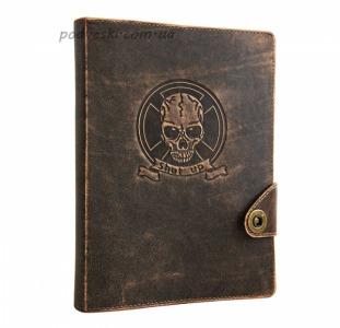Ежедневник кожанный Череп коричневый-подарок молодому человеку