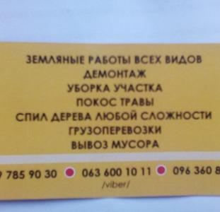 Уборка,планировка участка,спил дерева, демонтажные работы,вывоз мусора Одесса
