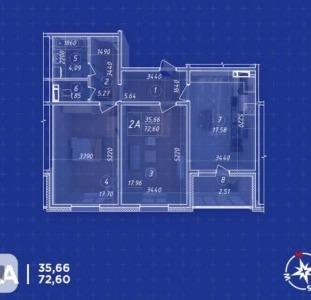 ЖК Навигатор квартиры с ремонтом. Последняя 72,60 кв.м. с кухней 18 кв.м.в Доме №1 от Владельца