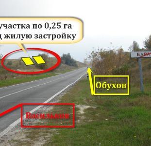 2 участка по 25 соток под застройку в Васильковском р-не Киевской обл.