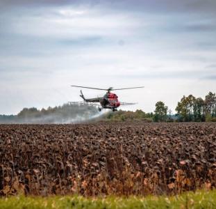 Десикация подсолнечника вертолетами дельтапланами самолётами